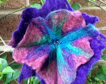Large Wet Felted Flower brooch or Hairclip
