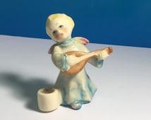 HUMMEL GOEBEL FIGURINE angel with banjo guitar cherub candle holder porcelain blue dress blonde hair