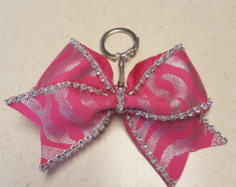 Cheer bow key chain pink