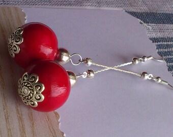 Red Wooden Earrings