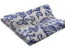 HanDmade block design cotton kantha Quilt KAntha Blanket Queen Kantha Bedspread Vintage Kantha Quilt Indian Bedspread