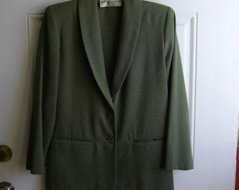 Dark Olive Linen-Look Blazer by Fundamental Things, Petite Size 4