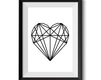 Geometric Heart / Minimalist Decor / Geometric Decor / Art Print / Digital Print / Instant Download Printable Art