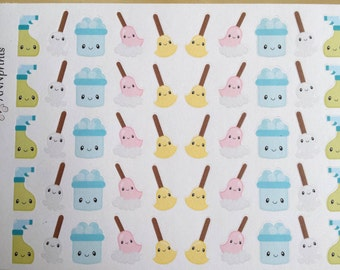 Kawaii cleaning icons planner stickers