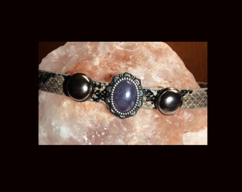 90's Inspired Adjustable Faux Snakeskin Choker with Amethyst Stone and Silver Stud Detailing