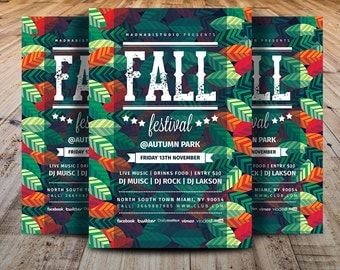 Fall Festival Flyer Template - Festival Flyer Template - MS Word & Adobe Photoshop Template - INSTANT DOWNLOAD