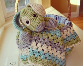 Crochet Squishy Puppy Lovey security blanket
