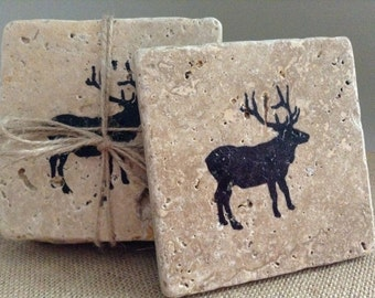 Hunting Gifts, Deer Gifts, Coasters,  Stone coasters, Deer Coasters, Rustic Coasters, Rustic Home Decor, Hunting Gift, Cabin Gift, Log Cabin