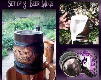 8 Groomsmen Mugs/Rustic Weddings/Beer Mugs/Groomsmen Beer Mug/Groomsmen Gifts/Groomsmen Gift/Oak Mug/Personalized Beer Mug/Eco Pot For Drink