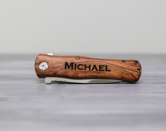 "4 1/2"" Personalized rosewood or anodized aluminum  knife."
