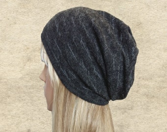 Gray slouchy hat, Womens slouch beanie, Autumn beanie women, Fall slouch hat, Winter fabric hat, Boho clothes, Boho hat beanie,
