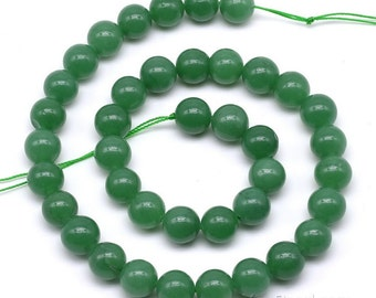 Aventurine beads, 10m round, green jade stone beads, natural gem beads, loose gemstone beads for making necklace, jewelry beads, AVT2060