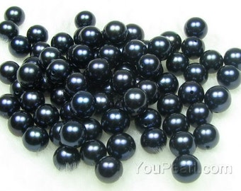 AA+ 7-8mm round pearl, half drilled freshwater black pearl beads, genuine high quality round loose pearls, pearl loose beads, FLR7080-B
