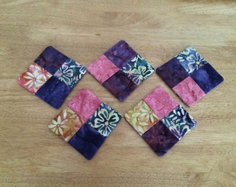 5 handmade fabric coasters. Batik-style 100% cotton front and back.