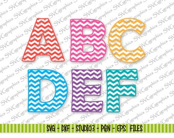144-Upper and lower case Chevron  SVG Letters Cutting files Silhouette Cameo/cricut  svg dxf studio3 eps  png files for vinyl wall decal