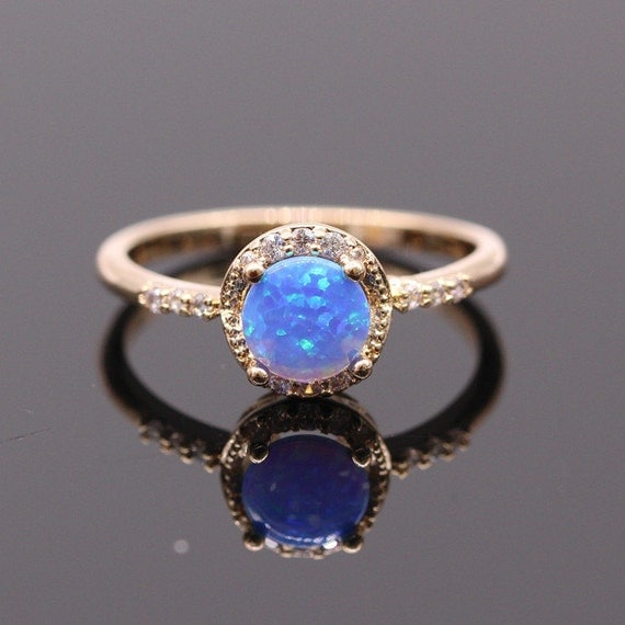 beautiful simple blue opal ring stacking opal