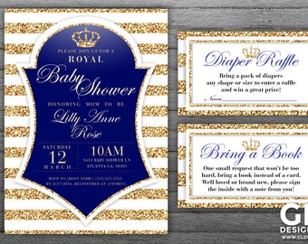 prince baby shower invitation with diaper raffle bring a book insert white gold