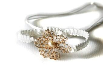 Handmade Macrame Bracelet Adjustable White With Gold Crochet Flower And Freshwater Pearl