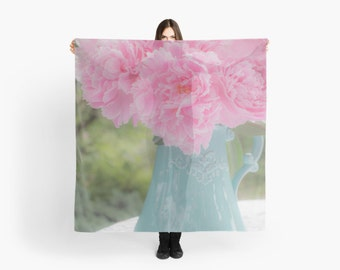 Teal and Pink Scarf ~ Ethereal Scarf ~ Bouquet of Peonies Scarf ~ Dreamy Scarf, Feminine Gift for Her, Floral Fashion Accessory Flower Photo
