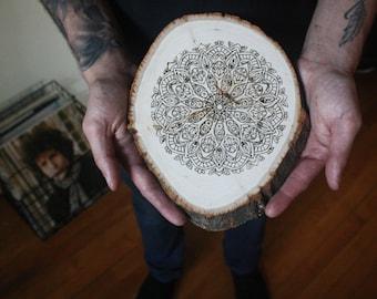 "Mandala wood-burned wall hanging, ""Karma"""