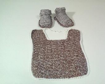 Bib and booties girl baby crocheted
