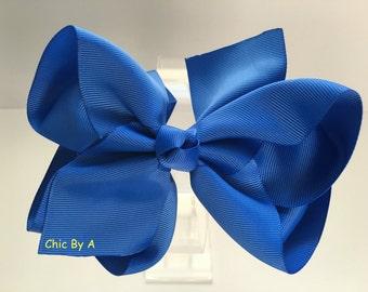 "Royal Blue Hair bow,6"" Hair Bow,Blue,Baby, Toddler Girl,Boutique Hair Bow, Alligator Clip Barrette"