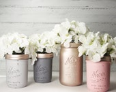 4- Hand Painted Mason Jars Flower Vases- Mandy Girl Collection Two -Country Decor-Cottage Chic-Shabby Chic-French Chic