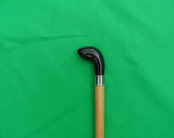 Water Buffalo Handle, Oak Shank Prince of Wales style Knob Stick