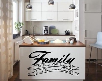 Family Where Life Begins Inspirational  vinyl wall decor decoration Sticker family words  decal sticker cheap kitchen decorative Removable