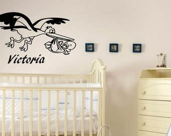 Stork Carrying Newborn Baby Nursery Personalized Name sticker Baby Girl Baby Boy Bedroom Sticker decal decorative vinyl decor niño chico