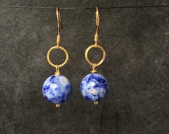 Sodalite Earrings, Sodalite, Blue Earrings, Sterling Silver Earrings, Gold Earrings, Statement Earrings, Dangle Earrings, Earrings
