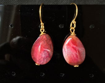 Red Agate Earrings, Red Earrings, Gold Earrings, Drop Earrings, Teardrop Earrings, Gemstone Earrings, Womens Earrings, Gifts For Her,