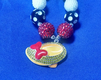 Minnie Mouse Inspired Minnie Shoe Toddler Bubblegum Necklace.  Disney Inspired Minnie Mouse Shoe Girls Gumball Necklace
