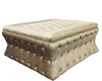 Tufted Ottoman with Crystal