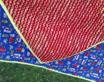 Faux chenille blanket Flannel boy blanket Baby boy blanket Blue blanket 37 x 33 inches Chenille blanket Flannel blanket Fire engine blanket
