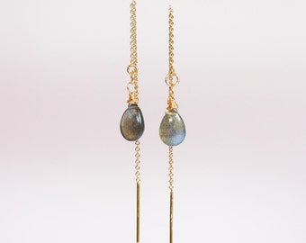 Labradorite Threader Earrings, Labradorite Earrings