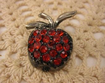 "Vintage Brooch, Vintage Pin, Vintage Jewelry, Rhinestone Apple, Antique Silver Tone, Red Rhinestones, Apple Brooch, Apple Pin, 1 1/2"""