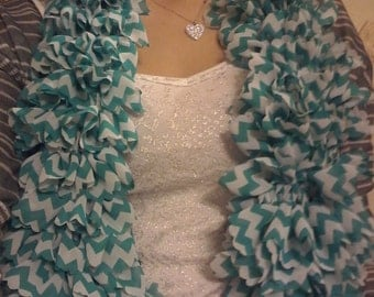 Teal and white ruffle scarf