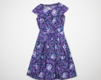 50s purple cotton dress
