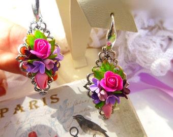 Gift earrings Gift for her Original gift Chic gifts Flower earrings Boho earrings Silver hooks  chandelier Dangling earrings Purple earring