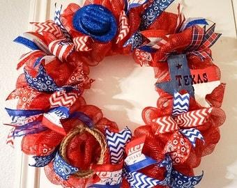 Western Mesh Wreath, Western Wreath, Cowboy Wreath,Summer Mesh Wreath, Texas Wreath, Texas Deco Mesh Wreath