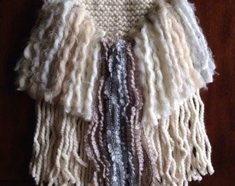 The Mystic, Cream and Blue Knit Woven Wall Hanging