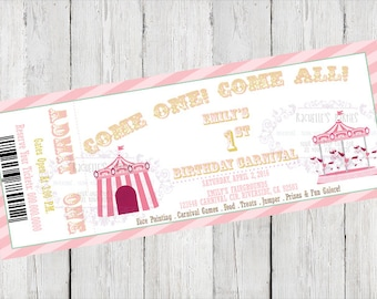 Pink Carnival Ticket Birthday/Baby Shower Invitation