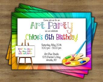 Art Party Birthday Invitation; Art Birthday Party Invitations; Art Party Invitation; Painting Party Invitation; Paint Party Invitation