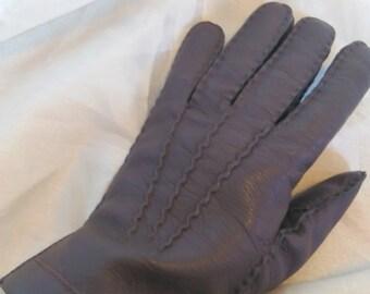 Vintage Mens Brown Leather Gloves, Brown Gloves, Leather Gloves, Winter Gloves