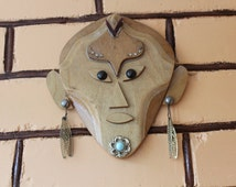 Vintage Hand Made African Asian Wood Mask, Authentic Wall Decor, Home Decor, Collectible African Asian Face, Folk Art, Ethnic
