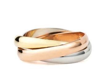 14k Gold Trinity Wedding band. Trinity ring. Rolling ring. Gold wedding band. Wedding ring.Three Tone Ring.Three Color Ring