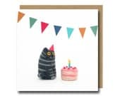 Cat Birthday Card, Funny Cat Card, Party Invitation, Needle Felted Cat, Cat Illustration, Cute Cat Card, Tabby Cat Card, Illustrated Cat