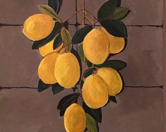 Lemons on canvas - lemon painting - lemon acrylic painting - still life