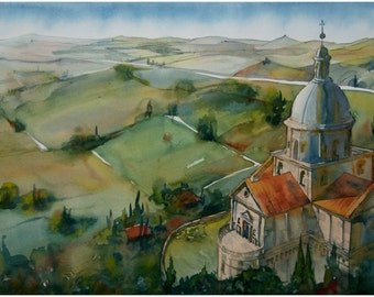 Original watercolor painting, architecture, landscape, Italy, Marche